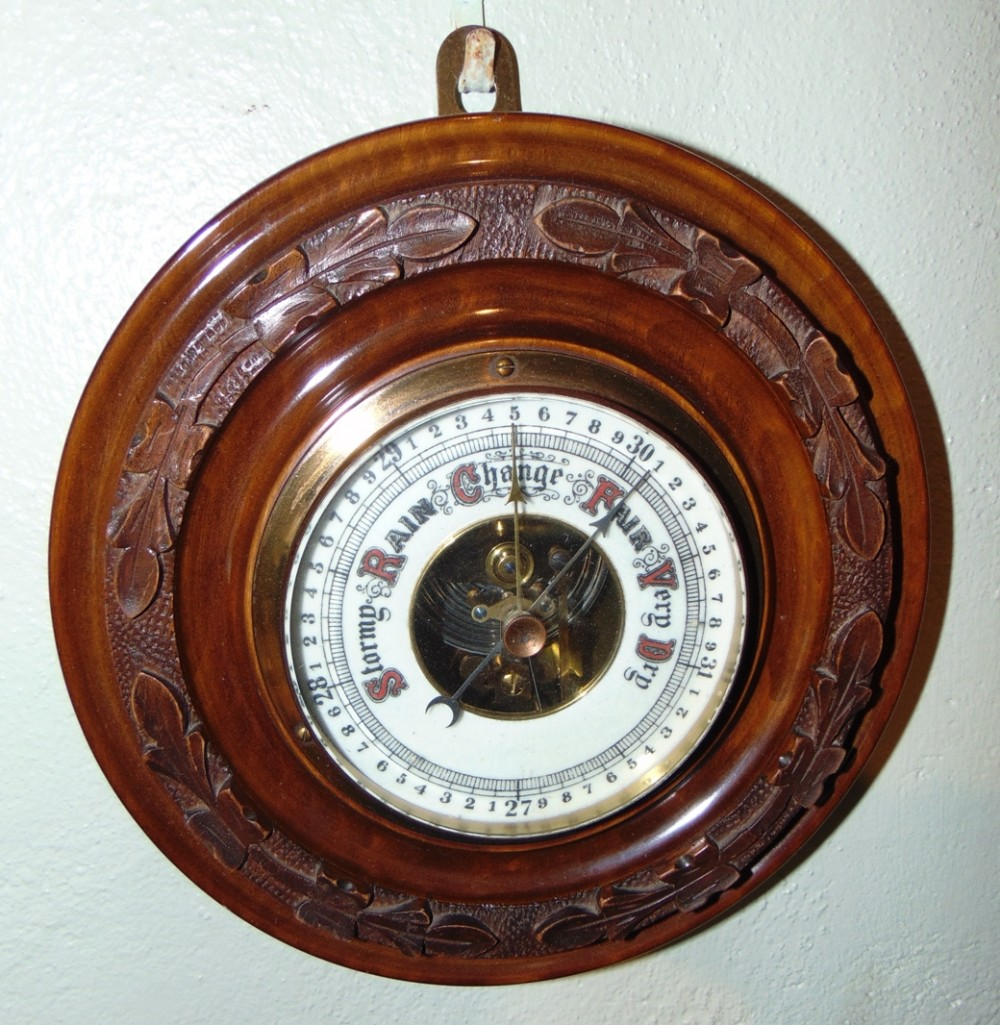 edwardian oak circular barometer circa 1920