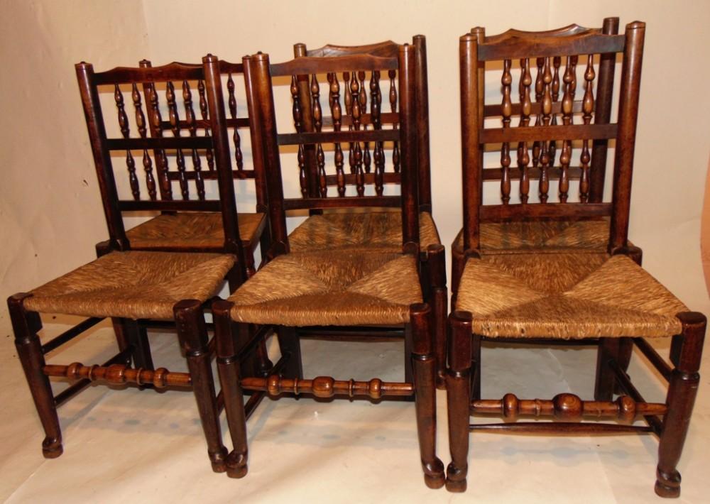 set 6 georgian elm lancashire spindle back chairs circa 1800