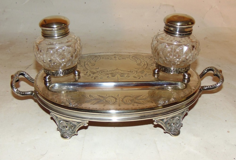 victorian silver plated inkstand circa 1870