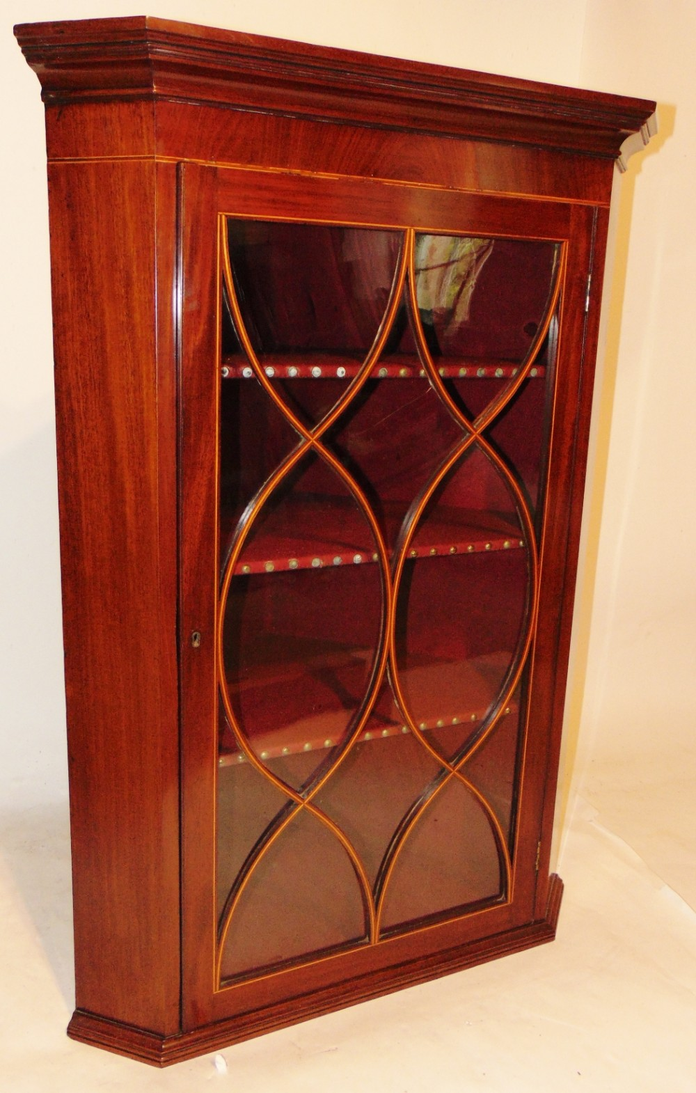 scottish georgian mahogany hanging corner cabinet circa 1795