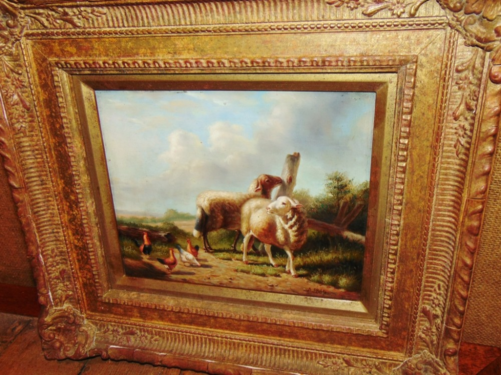 victorian oil on panel 'sheep' circa 1880