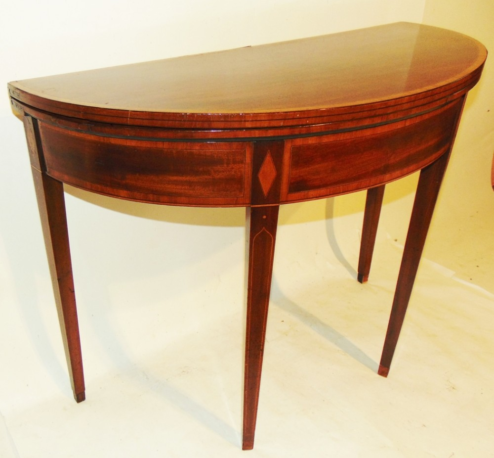 sheraton mahogany demilune tea table circa 1790