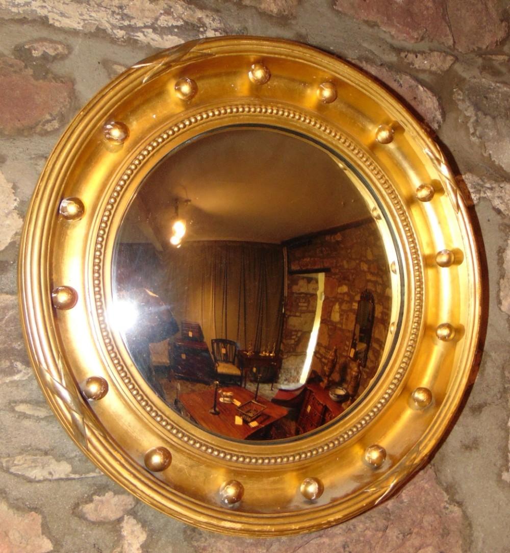 victorian gilt convex mirror circa 1850