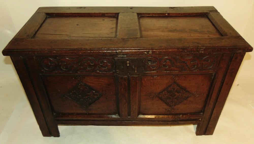 small carved oak coffer circa 1680
