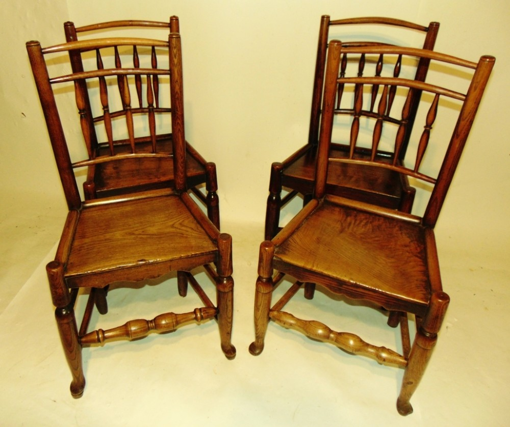 set 4 country elm dining chairs circa 1820