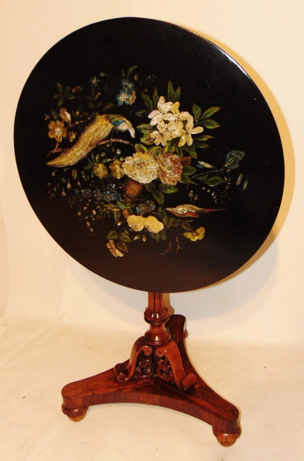 regency rosewood and papier mache pedestal table circa 1830