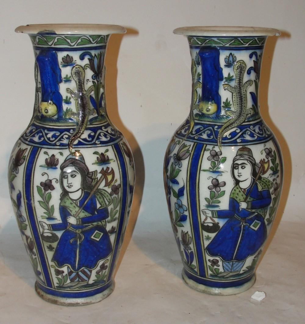 pair tehran persian pottery vases circa 1850