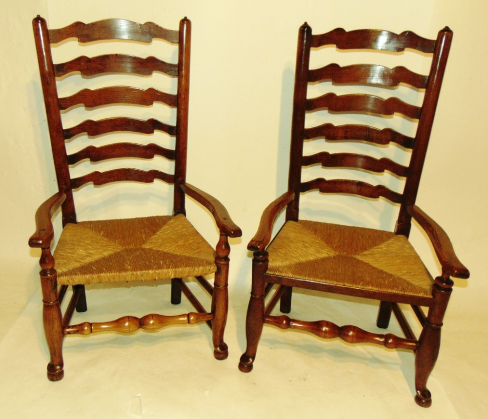 two similar ladder back nursing chairs circa 1780