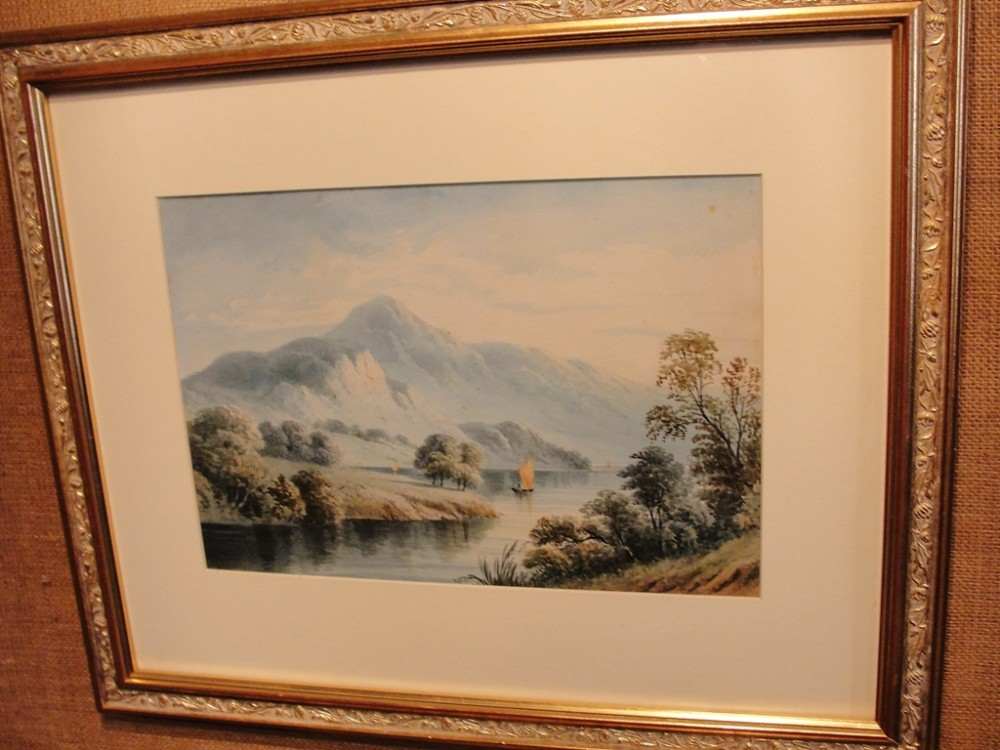 victorian watecolour by wlangley derwent water dated 1892