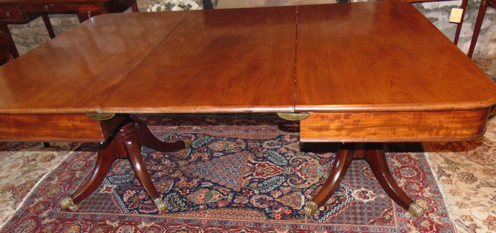georgian mahogany 2 pillar dining table circa 1820