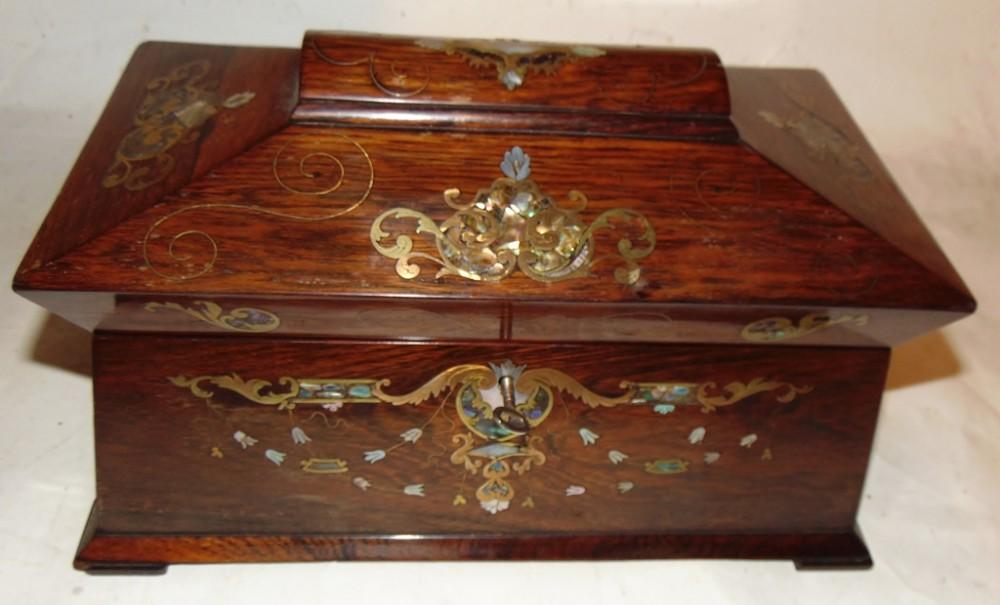 late regency inlaid rosewood caddy circa 1835