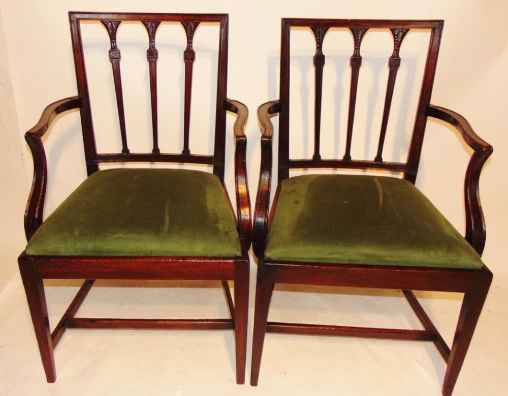 pair georgian mahogany elbow chairs circa 1800