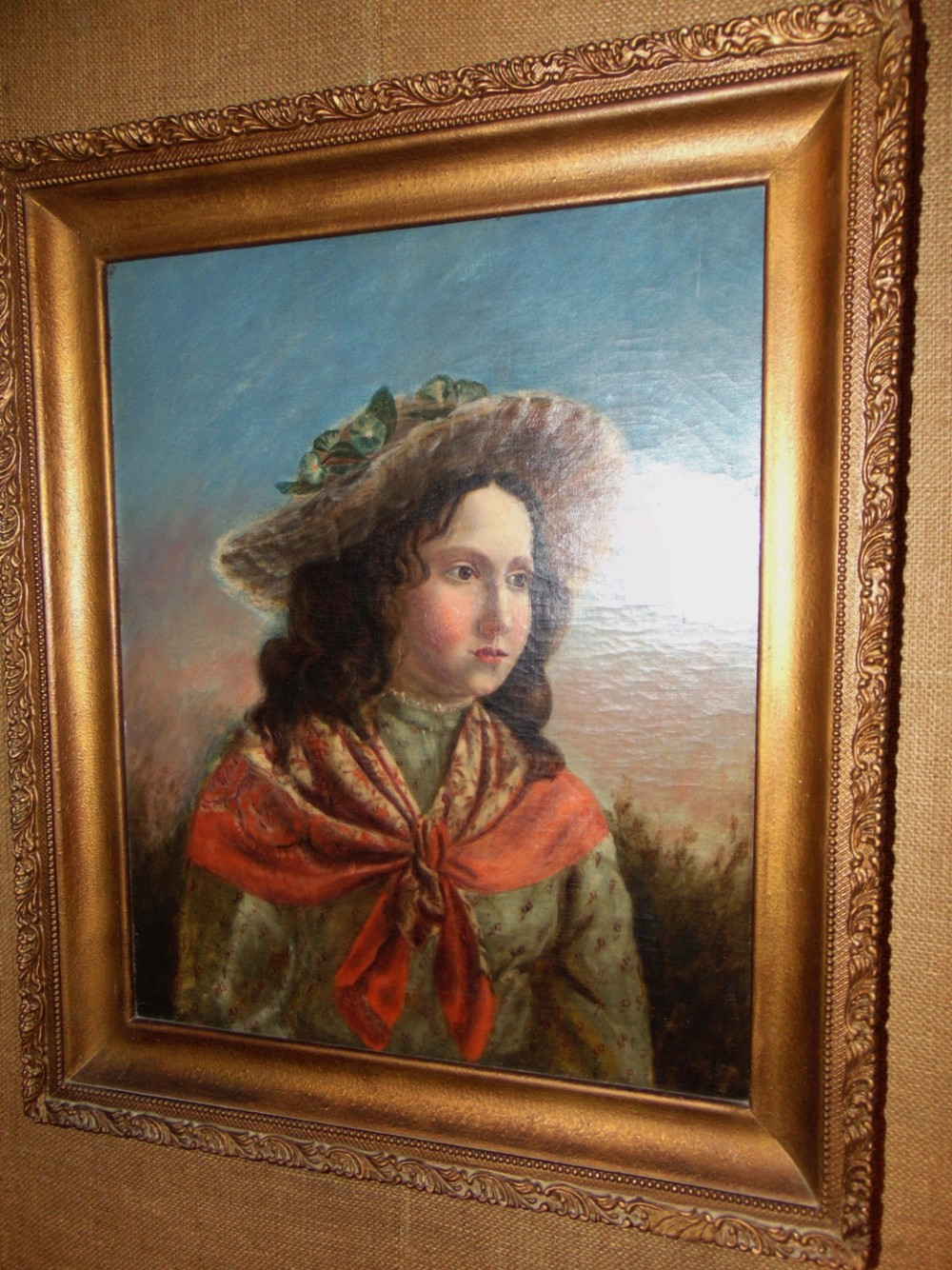victorian oil on canvas portrait of young lady circa 1880