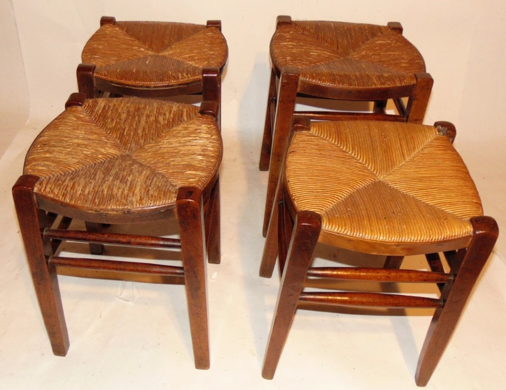 set 4 georgian fruitwood stools circa 1820