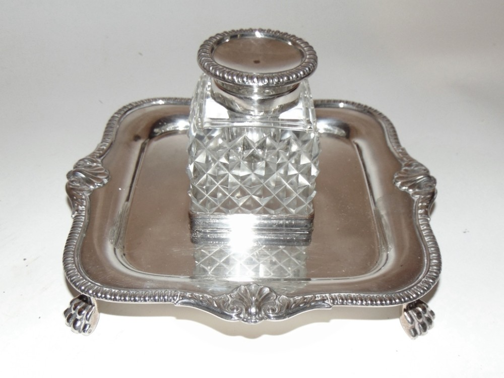 victorian silver plated inkstand circa 1880