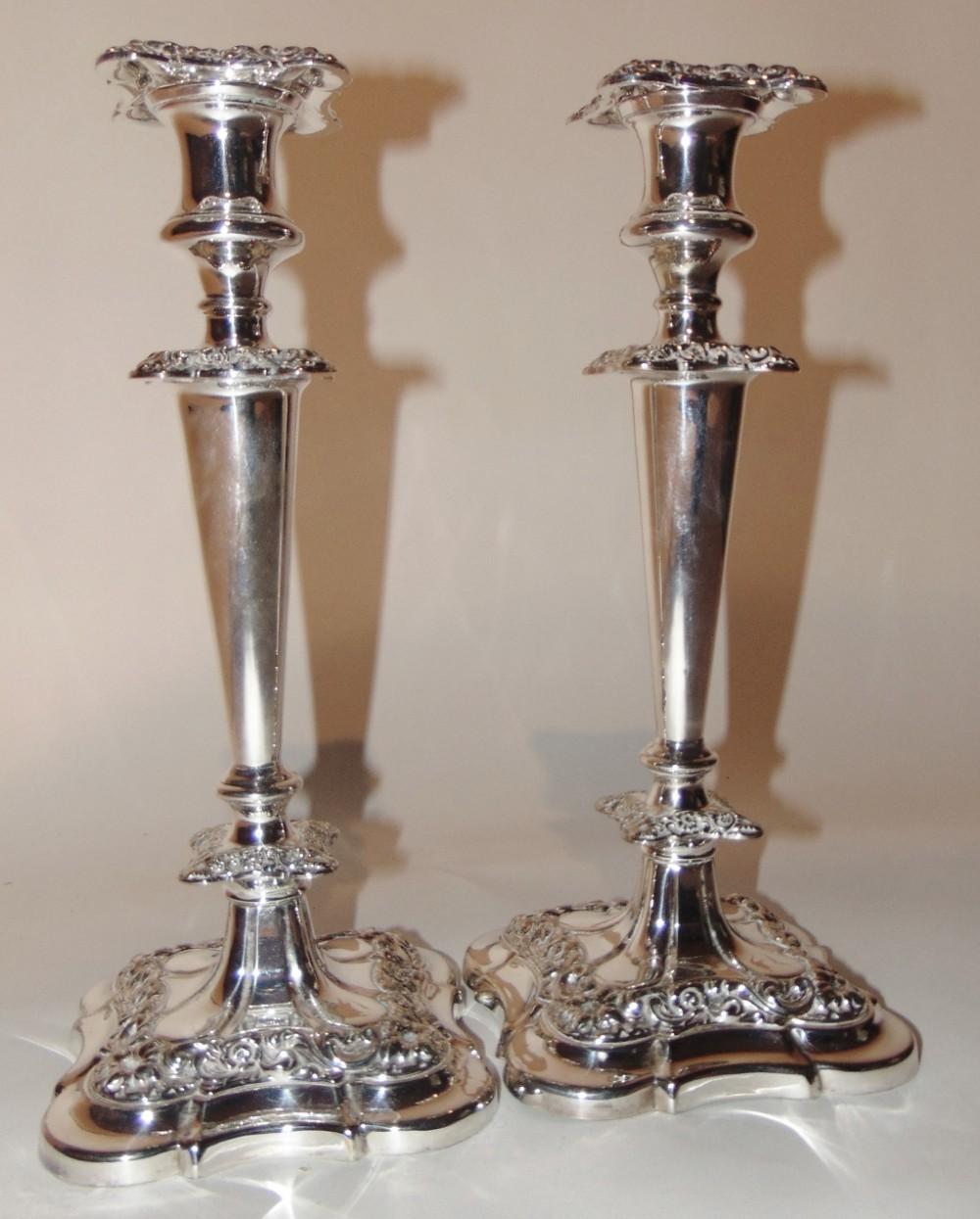 pair edwardian silver plated candlesticks circa 1910