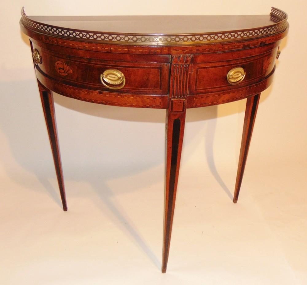 dutch mahogany half round side table circa 1800