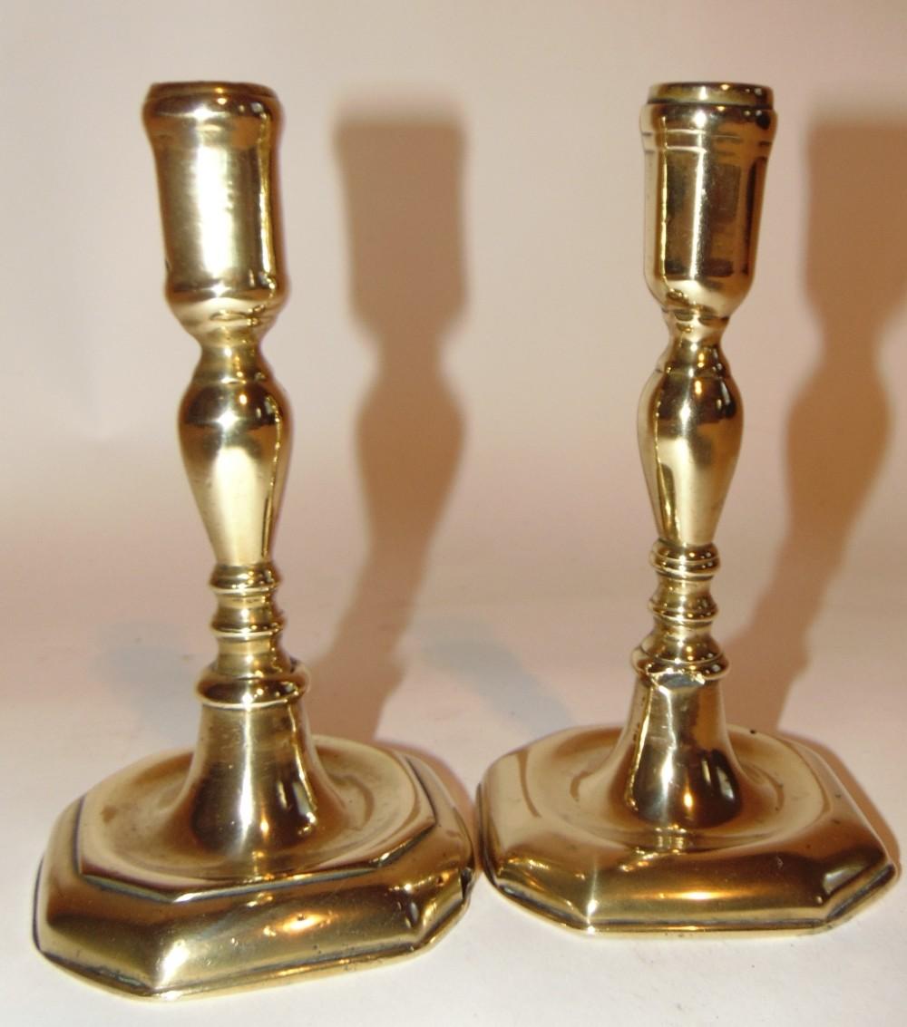 pair georgian brass candlesticks circa 1760