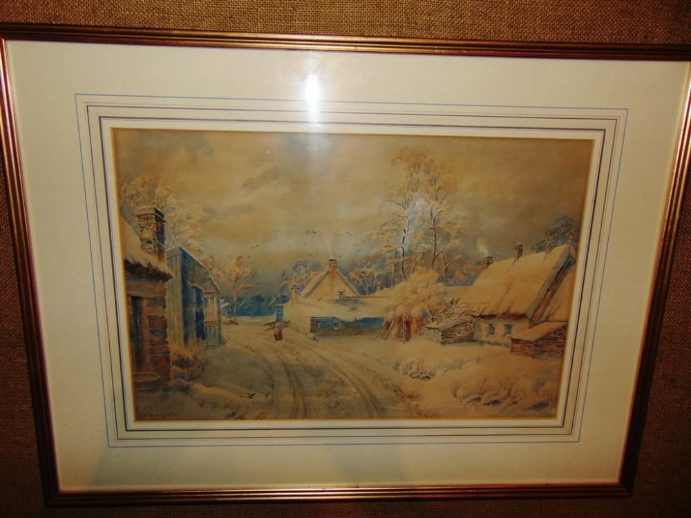 victorian watercolour 'snow scene' by drsellars