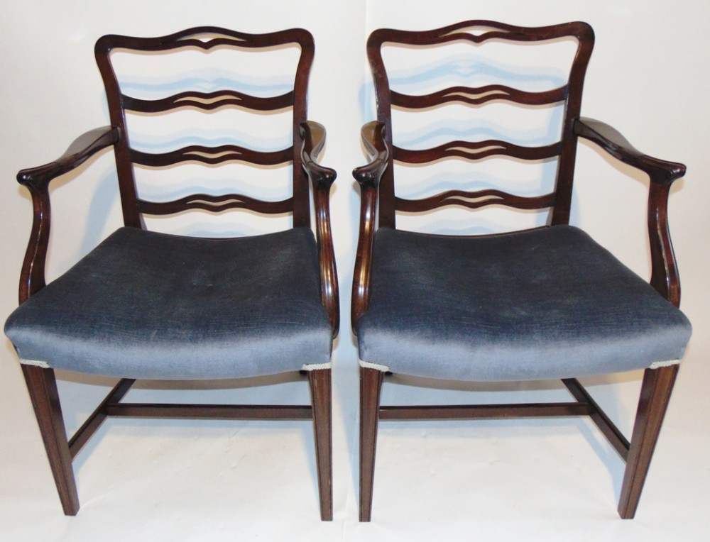 pair george iii style mahogany elbow chairs circa 1890