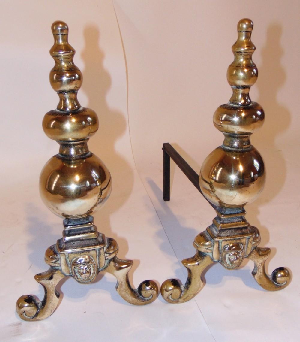 pair victorian brass andirons circa 1890