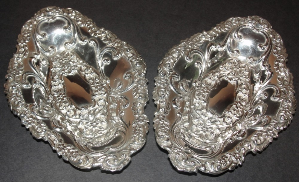 pair victorian silver dishes 1897