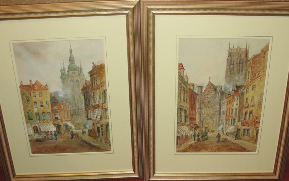 pair watercolours belgium by jan van strappen circa 1880