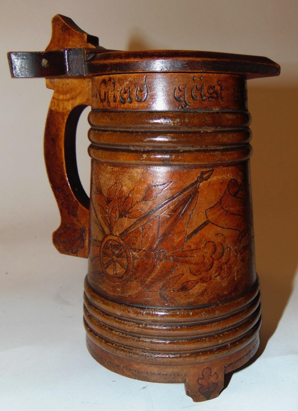 scandinavian turned fruitwood lidded tankard circa 1860
