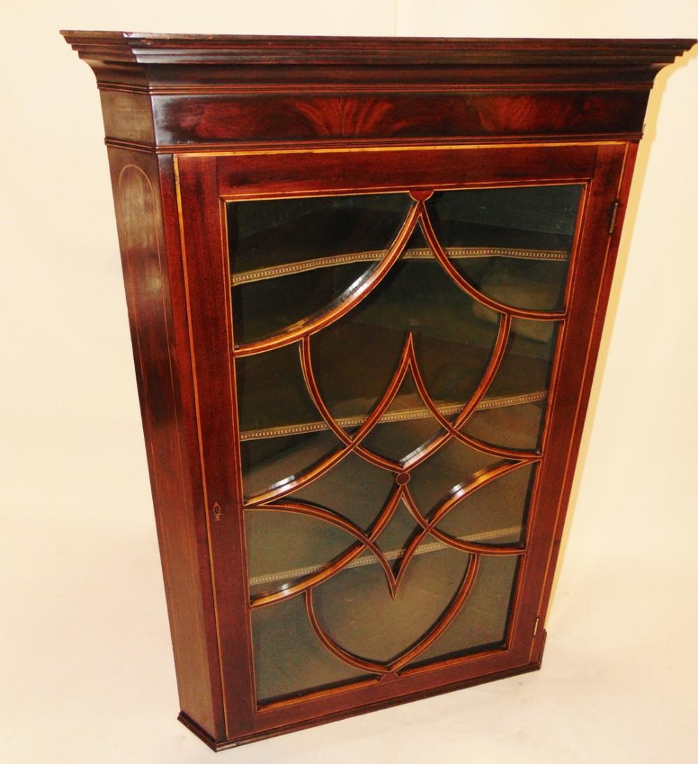 scottish sheraton mahogany corner cabinet circa 1795