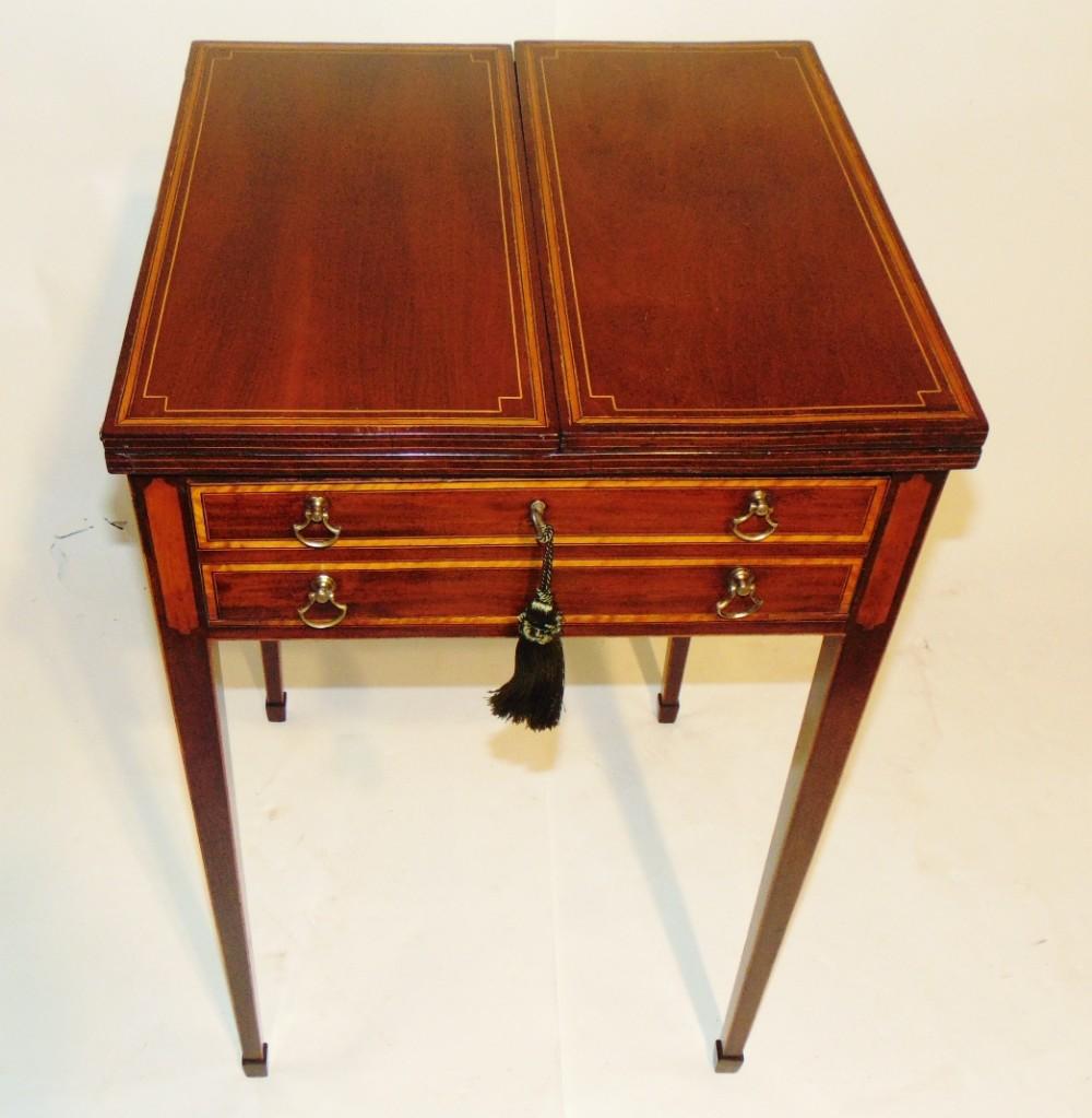 sheraton inlaid mahogany patience table circa 1790