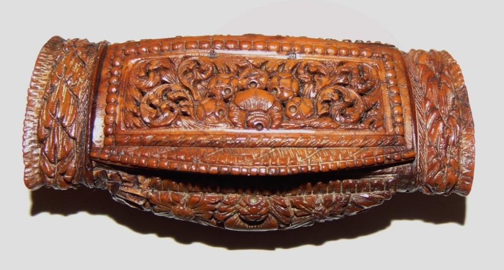 coquilla nut carved snuff box circa 1840