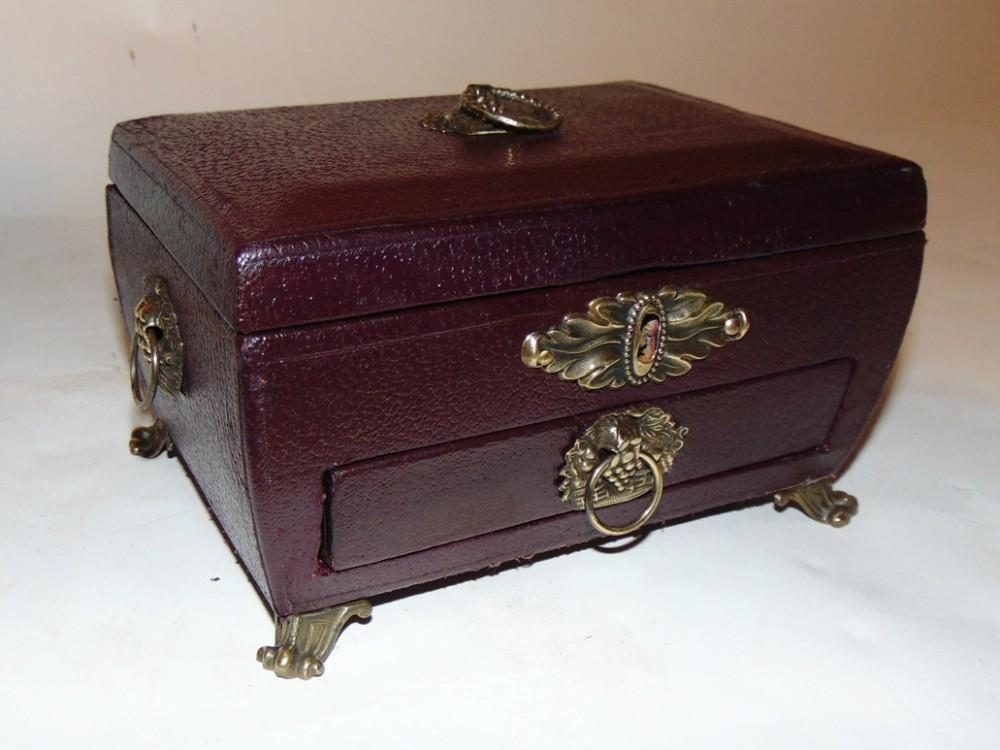 regency leather bound jewelry box circa 1815