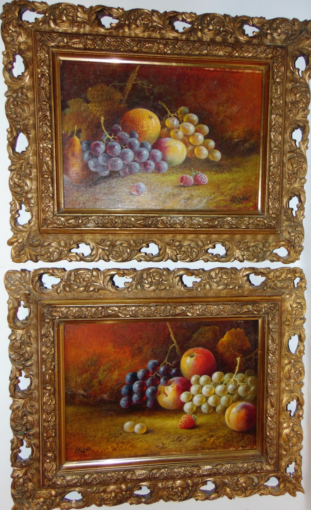 pair oils still life by jhlewis circa 1920