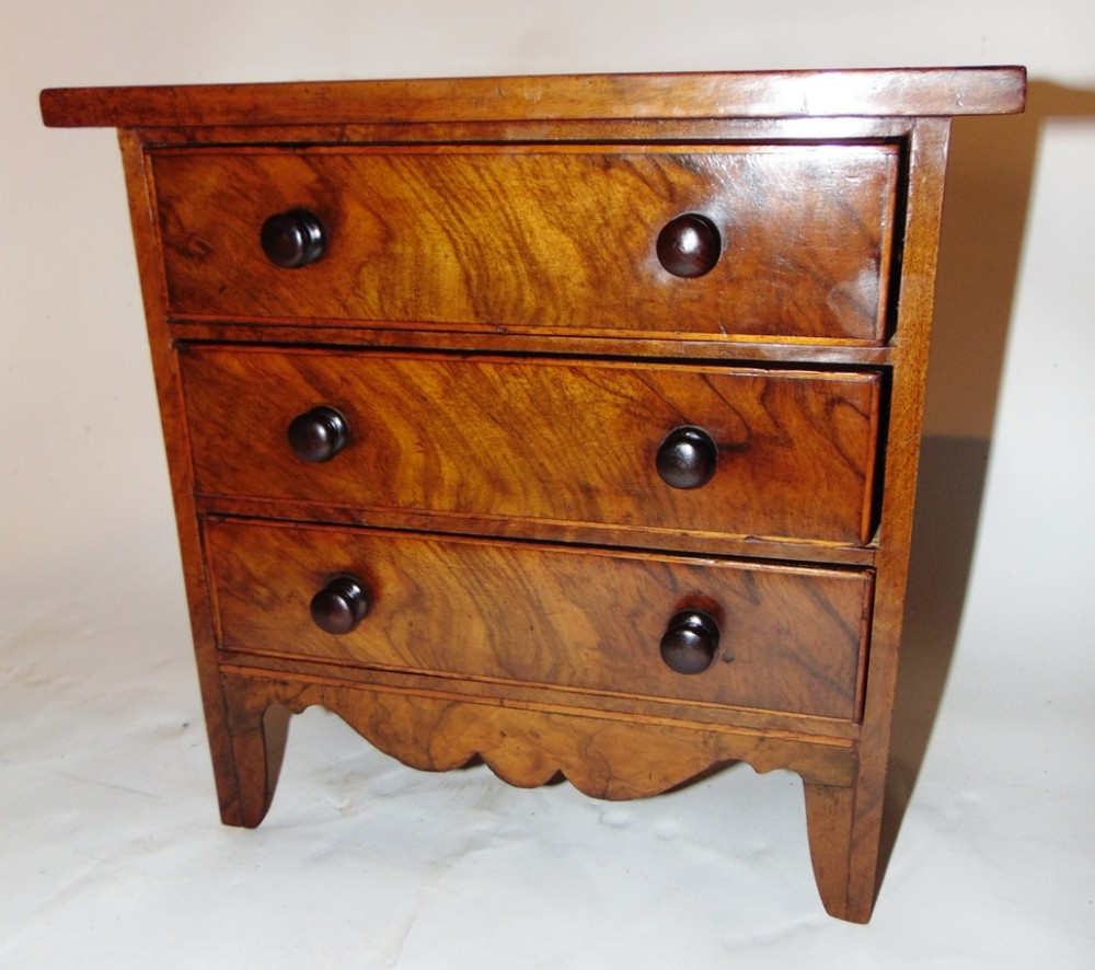 veneered walnut miniature chest of drawers circa 1840