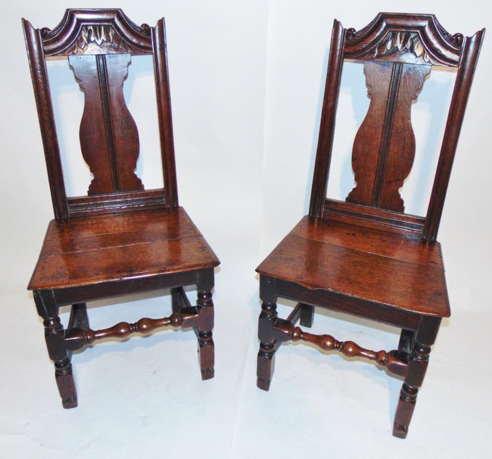 pair stuart oak chairs circa 1685