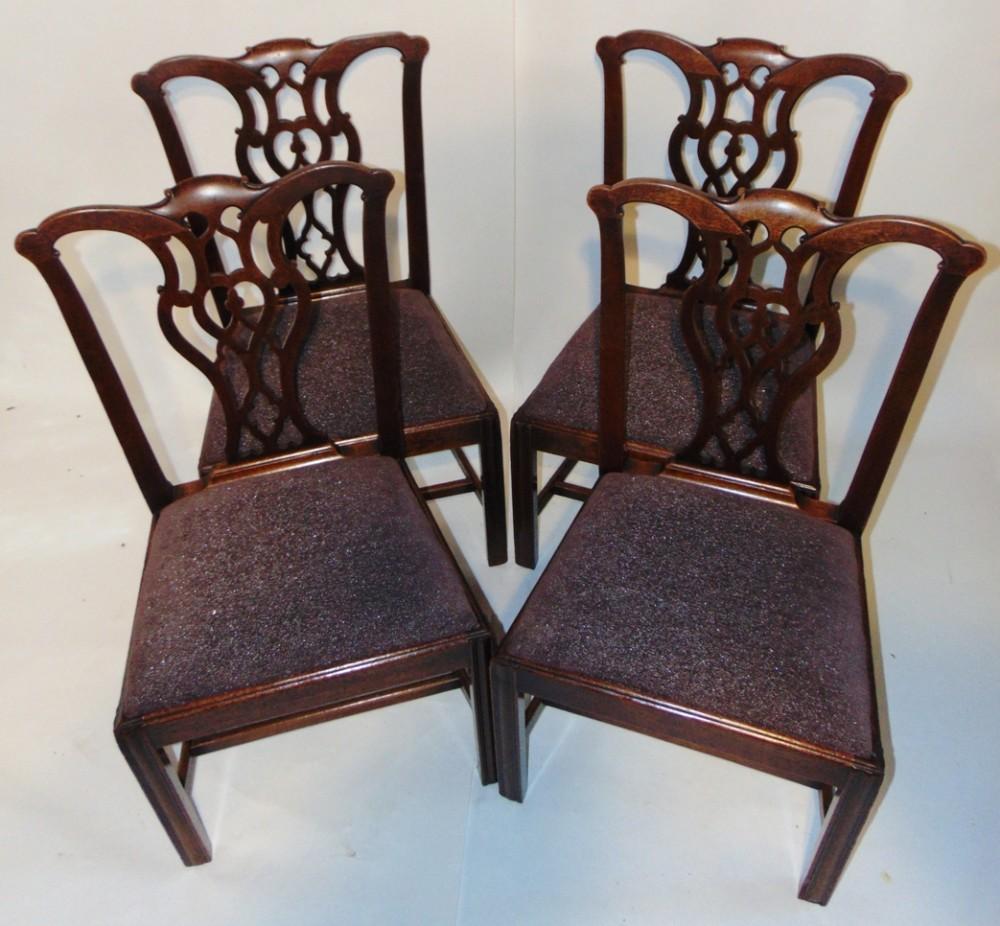 set 4 georgian mahogany chairs circa 1765