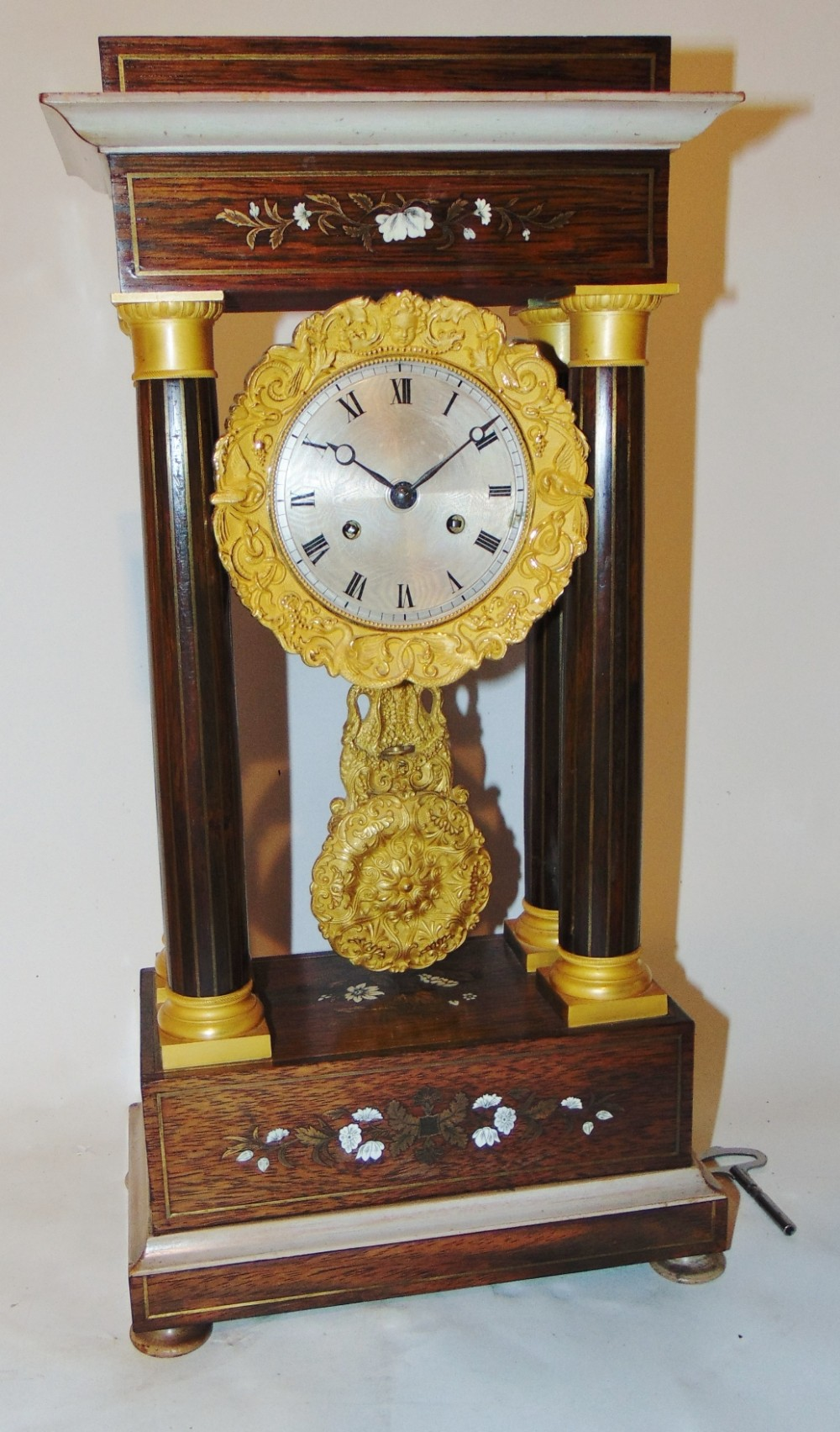 french charles x rosewood portico clock circa 1830