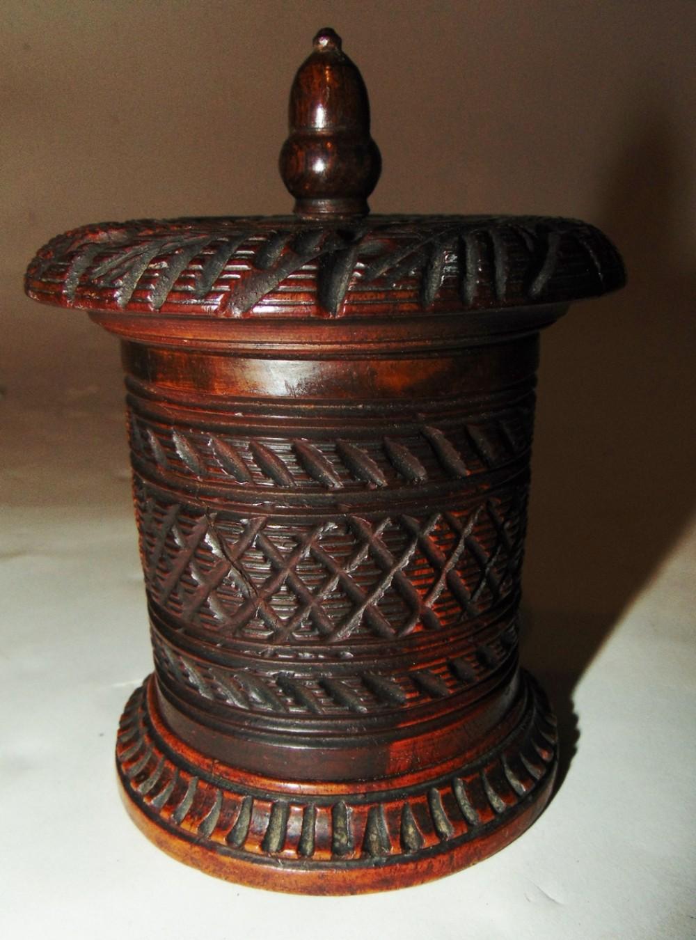 carved hardwood tobacco box circa 1840