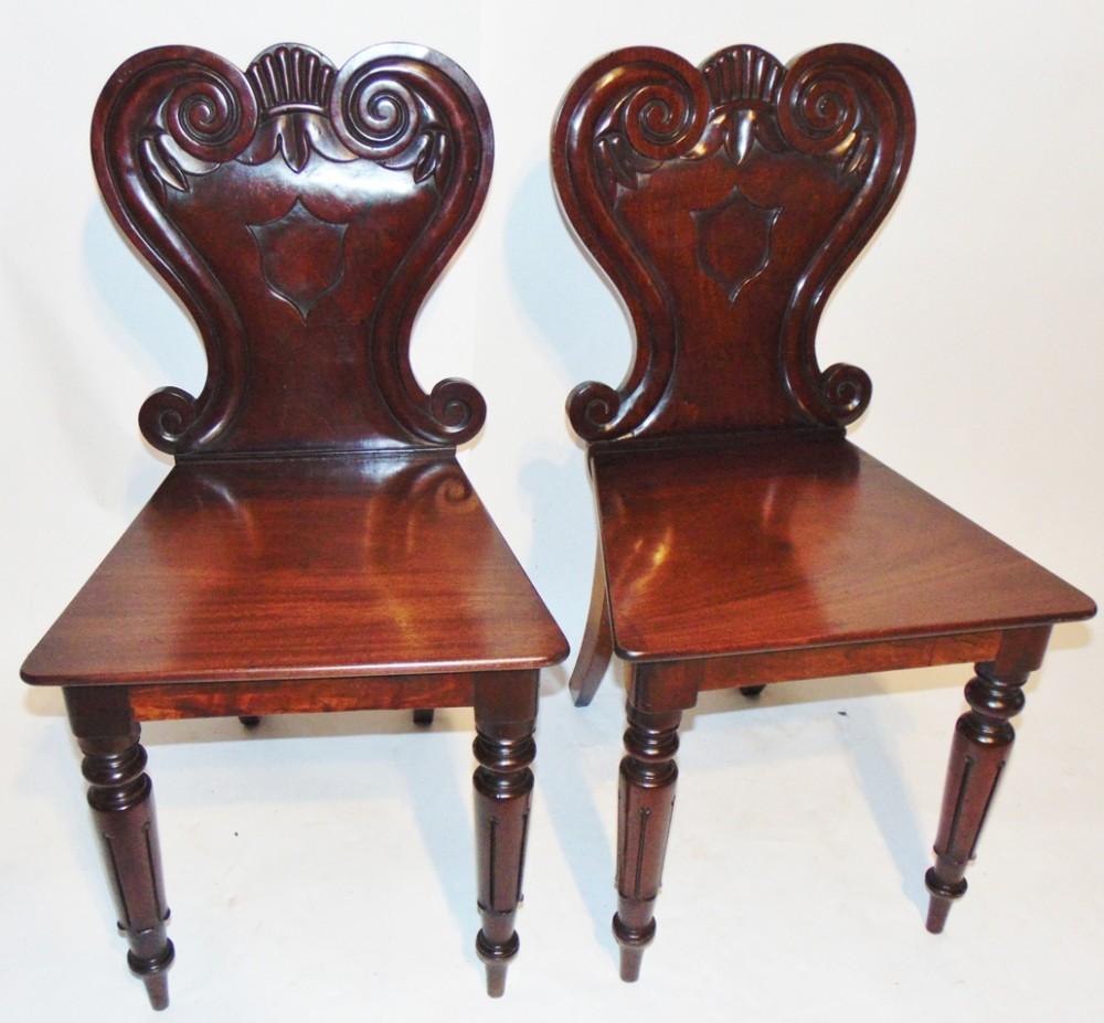 pair regency mahogany hall chairs circa 1825