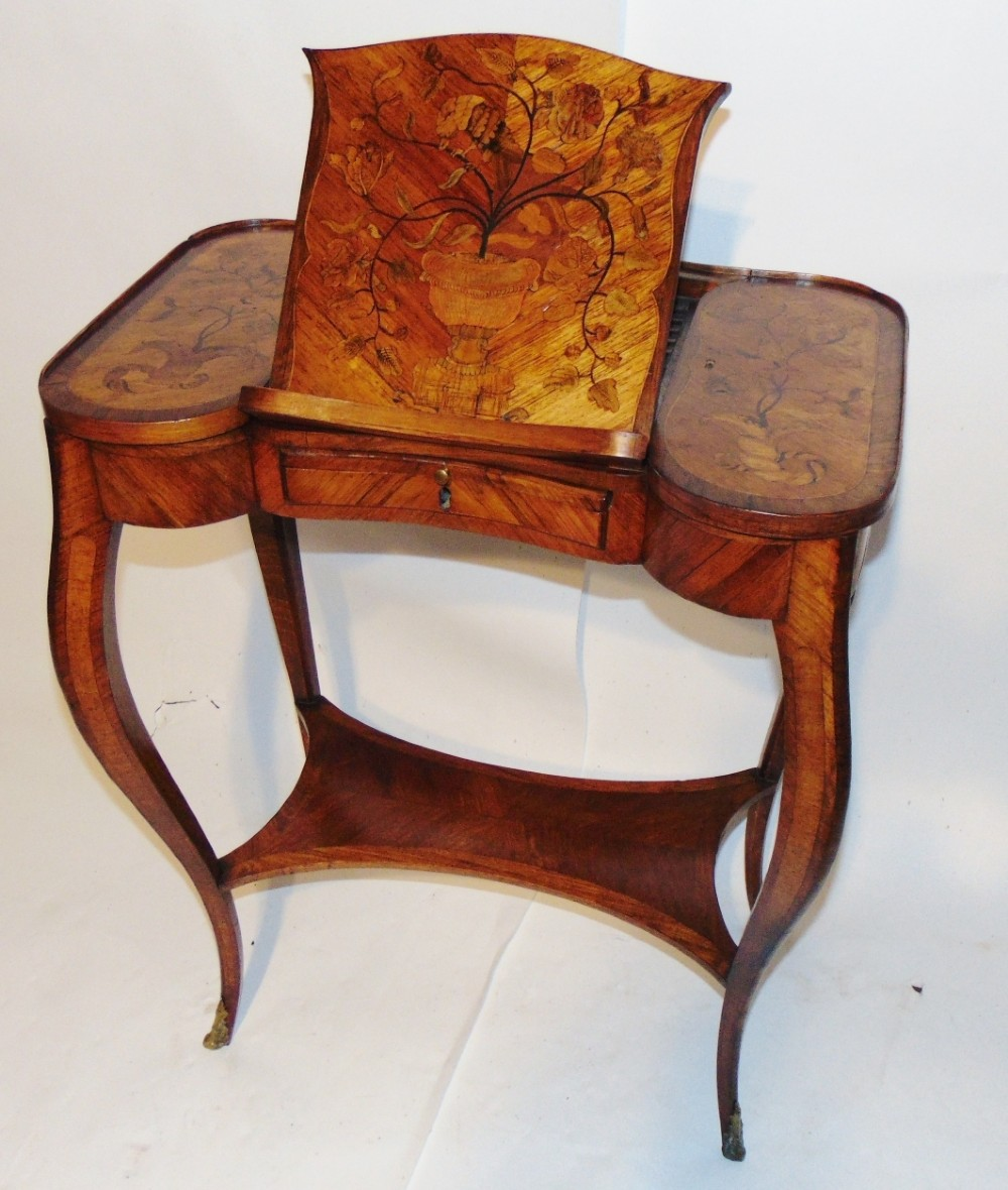 louis xv kingwood and marquetry poudreuse circa 1760