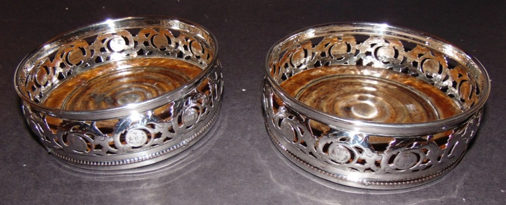 pair victorian silver plated wine coasters circa 1870