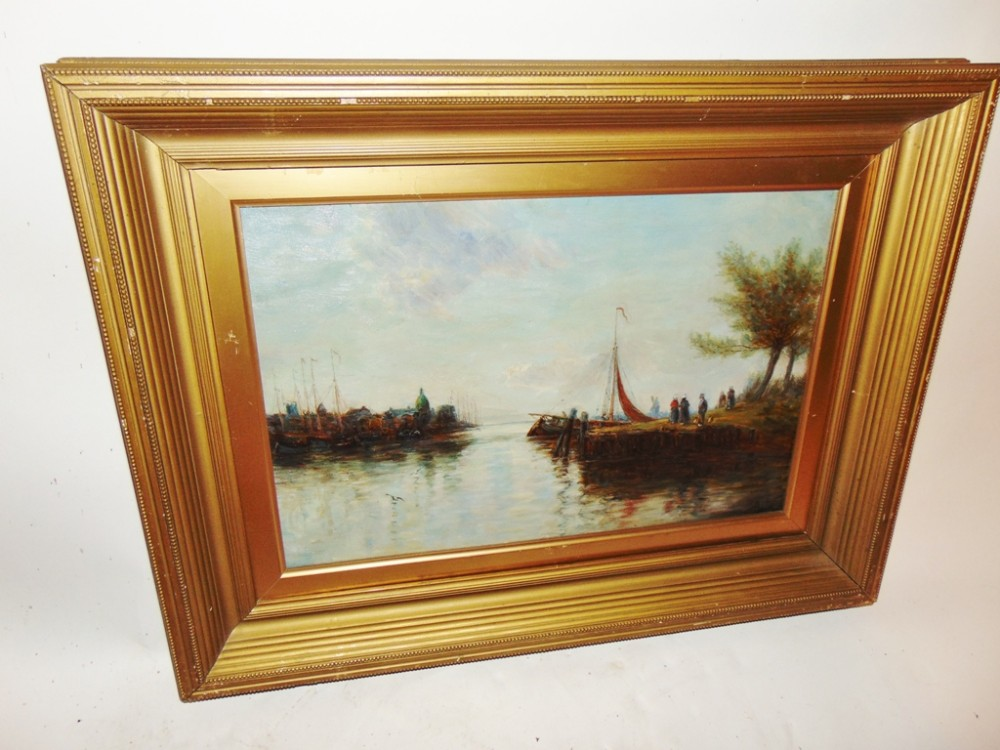 edwardian oil painting harbour scene dated 1909