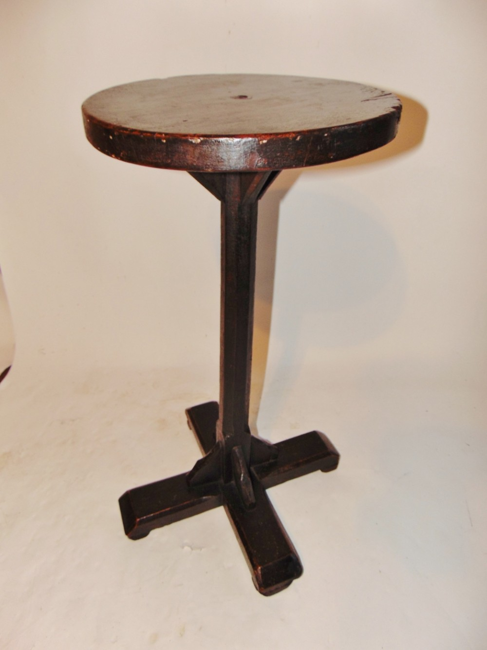 country made stained pine candlestand circa 1790