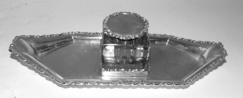 edwardian solid silver inkstand 1901