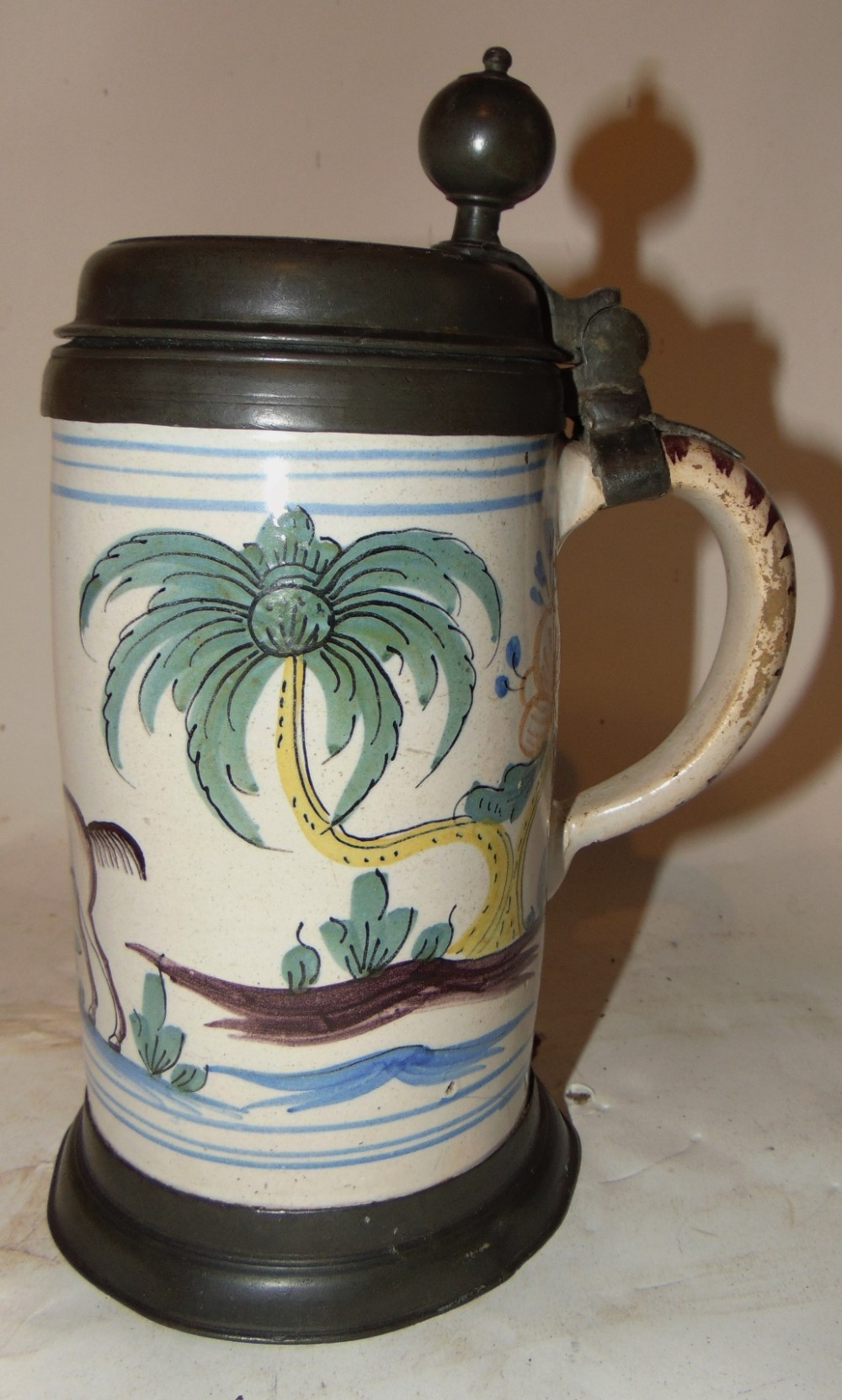 german bayruth faience tankard circa 1750