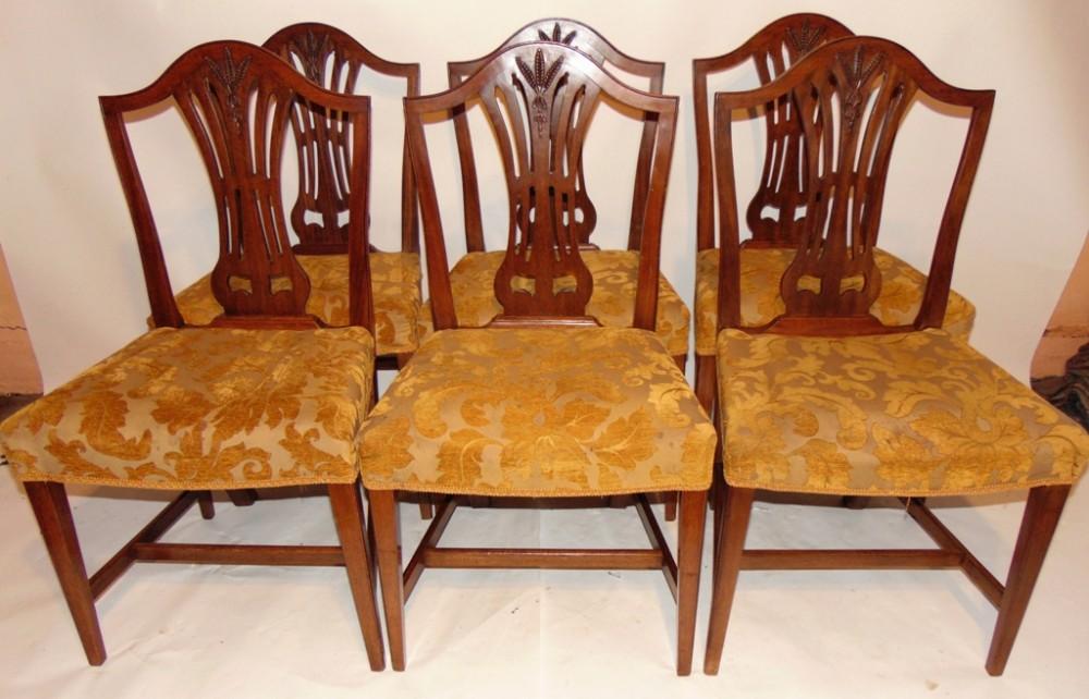 set 6 hepplewhite style mahogany dining chairs circa 1880