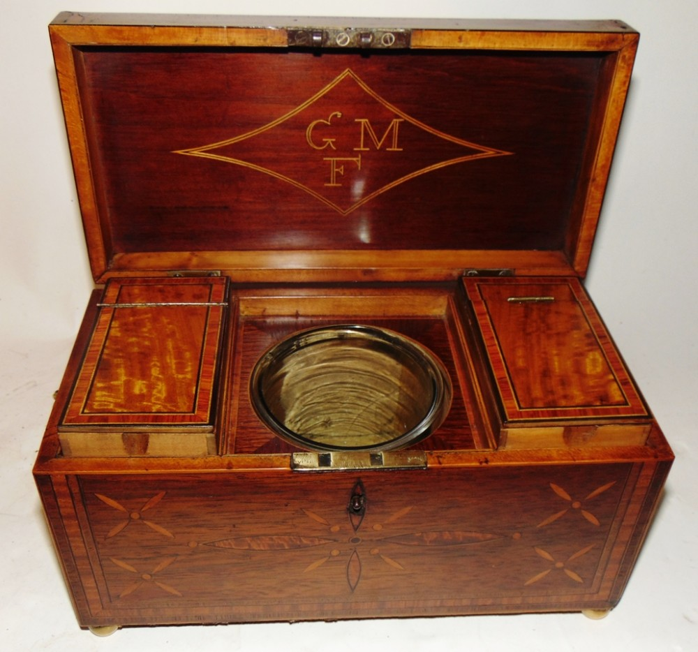 regency rosewood and inlaid tea caddy circa 1810