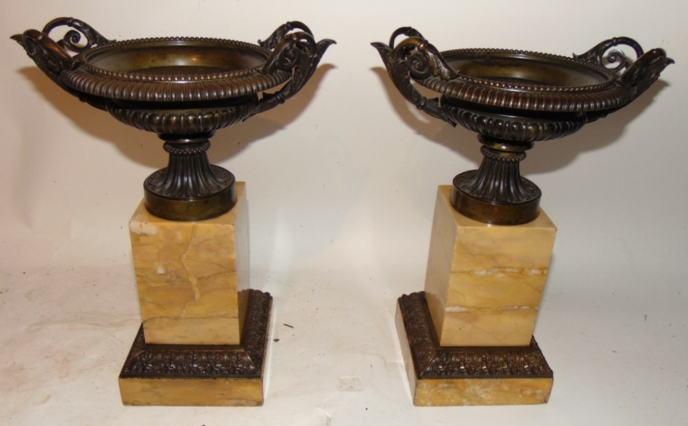 pair of cast bronze and marble tazza circa 1860