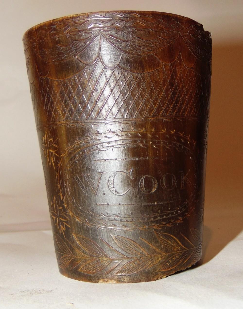 georgian horn beaker wcook circa 1820