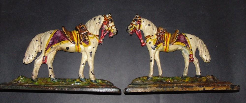 pair victorian cast iron horse mantle ornaments circa 1860